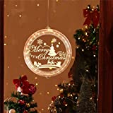 Alycwint Christmas Lighted Window Decorations Laser Engraving 3D Lights Novelty Hanging with Delicate Pattern, Shining Warm and Bright for Stores/Homes (Merry Xmas)