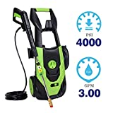Aodern Electric High Power Pressure Washer with 4000 PSI 3.0 GPM - Electric Power Cleaner with Metal Spray Gun, Patio Cleaner with Five Quick Connect Spray Nozzles