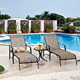 Festival Depot 3 Pc Patio Bistro Outdoor Chaise Lounge Chair Set Textilene Furniture Metal Adjustable Back Curved Armrest with Glass Desktop Coffee Side Table Adjustable Leg for Porch Garden