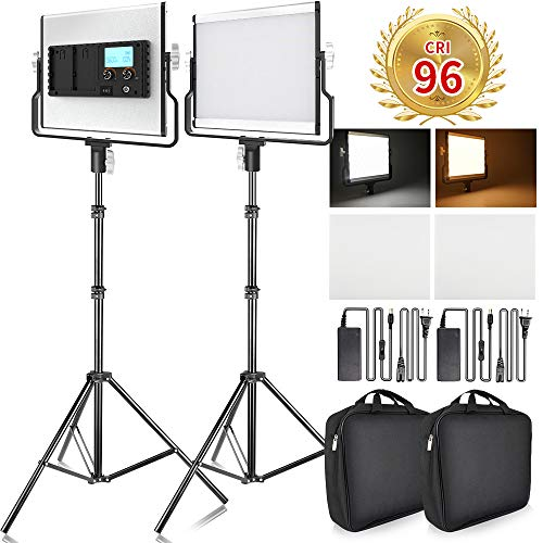 FOSITAN LED Video Light with 79 inches Stand LCD Display Bi-Color 3960...