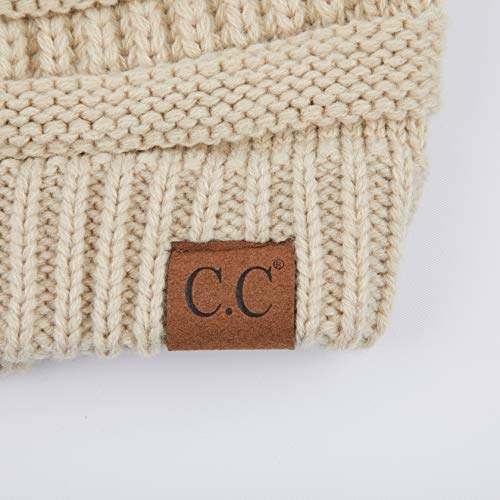 C.C Hatsandscarf Exclusives Unisex Solid Ribbed Beanie with Pom (HAT-43)
