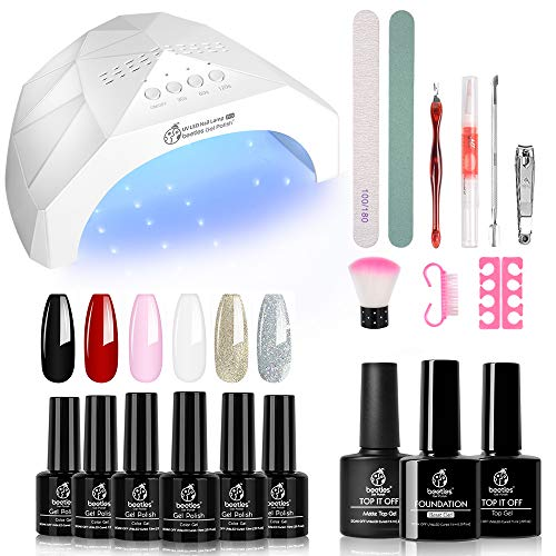 Beetles Gel Nail Polish Starter Kit with 48W LED/UV Light Nail Lamp 6 Colors Gel Polish Set with Black Red White, 7.5ml Gel Base Top Coat, Professional Manicure Tool Nail Kit for Salon or DIY Home