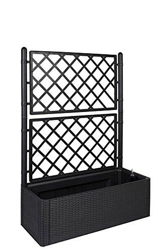 Kreher XL Rankgitter, Spalier mit Pflanzkasten in moderner Rattan-Optik aus Robustem Kunststoff in Anthrazit/Grau. Maße BxTxH in cm: 100 x 43 x 142 cm. Topp für Garten, Terrasse und Balkon!