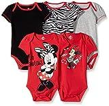 Disney Baby Girls  Girl Minnie 5 Pack Bodysuit, Red, 3-6 Months