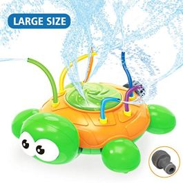 Ingreen Turtle Outdoor Lawn Water Spray Sprinkler Toy-with Hose Swing Sprinkler Tubes Tools Courtyard Garden Swirl Spinning Water Funny Game in Summer for Kids
