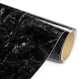 Black Marble Adhesive Film - High Gloss- 20 Foot - Economical alternative to rehabilitate your countertops, backsplash and cabinets - (240')