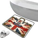 Alfombra de baño antideslizante de felpudo bandera de Reino Unido Alfombrilla goma antideslizante Maleta de viaje vintage con bandera británica,imagen de la cinta y corona de Londres,azul marino,rojo