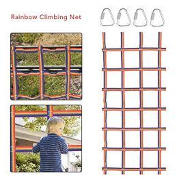 Cargo Nets Children Climbing Net, Heavy Duty Climbing Net for Kids, Portable Rainbow Ribbon Playground Garden Climbing Frame Net, 90x48in
