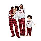 Kehen Dad Mom Baby Kids Family Matching Christmas Plaid Pajamas Set Cotton Sleepwear Mom Large (US:8-10) Red