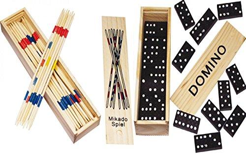 Spielesammlung aus Holz (Domino und Mikado) mit Praktischem Schiebedeckel und Spielanleitung (2er Set)