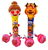 Disney Beauty and the Beast Emoji Pop Ups Lollipop Cases with Chupa Chups Pops, 2 Pack