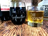 God Parent Gift Set, Stemless Wine Glass and Whiskey Glass