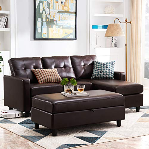 HONBAY Leather Sectional Couch with Ottoman Sofa Set with Chaise L Shape Couch Sleeper with Storage Ottoman (Brown)