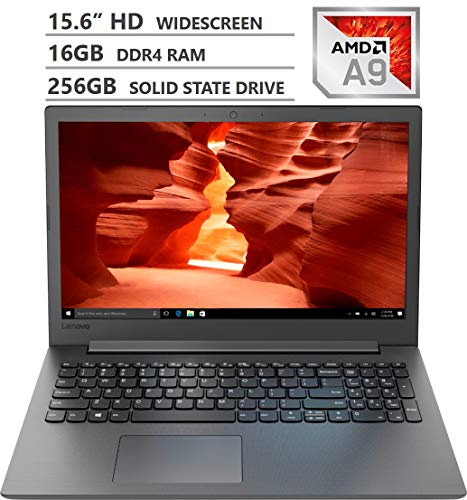"2019 Newest Lenovo Ideapad 130 15.6"" HD LED-backlit Widescreen Laptop, AMD A9-9425 Dual-Core Processor up to 3.70GHz, 16GB RAM, 256GB Solid State Drive, HDMI, Wireless-AC, Bluetooth, Windows 10, Black"