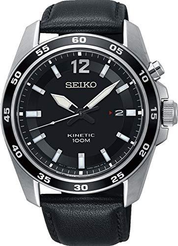 Seiko Herren Analog Kinetik Uhr mit Leder Armband SKA789P1