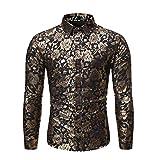 Camisa con Estampado Floral de los nuevos Hombres Camisa de Fiesta de satén de Seda de Manga Larga para Hombres Camisa Delgada de Negocios de Club Nocturno para Hombres Camisa Casual Superior