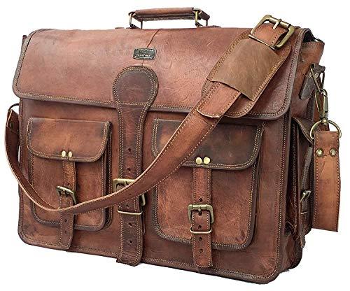 DHK 18 Inch Vintage Handmade Leather Messenger Bag for Laptop Briefcase Best Computer Satchel School distressed Bag (Personal Computers)