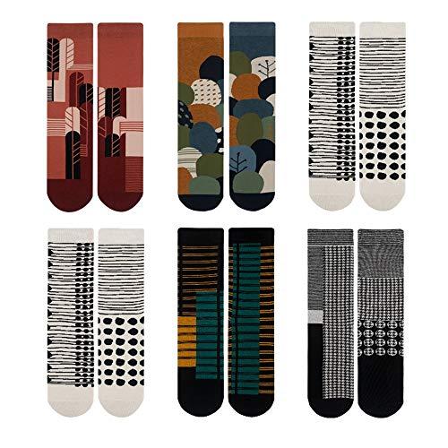 CHUHJ 6 paia di calzini unisex a righe e pied de poule, calzini in cotone AB con motivi colorati...