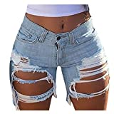 GDJGTA Women Jeans Shorts Pants Overalls Pants Stretch-Free Slim Hole Distressed Casual Fit Hot...