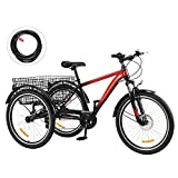 Viribus 7 Speed Mountain Tricycle with Adjustable Handlebars and Seat Three-Wheel Adult Bicycle for Men and Women Complete Beach Cruiser Trike with Basket Lights Bell for Adults (Red1, 24inch)