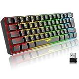 Teclado Gaming Inalambrico, 61 Teclas Bluetooth 5.0 + 2.4G Modo Dual Teclado Ergonómico Compacto Silencioso 60% Retroiluminado Arcoíris con Batería Recargable para Windows Mac PC PS4 Gamer, Negro