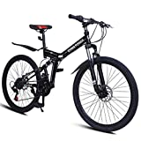 21 Outroad Mongoose Mountain Bike Fat tire Road bicicletas para Hombres Trek Bike, Speed 26in Folding Double disc Brake Bicycles, Dual Suspension, Safe and fastness, for Adults/Men/Women (Black)