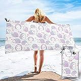 Lawenp Toalla de Playa de Secado rápido, Toalla de baño Liviana de Microfibra con Estampado de Erizo Rosa, súper Absorbente para niños y Adultos de 31.5 'X63'