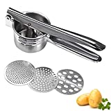 Potato Ricer and Masher Stainless Steel Ricer For Makes Light and Fluffy Mashed Potatoes,Fruit Vegetable Pressr with 3 Interchangeable Fineness Discs for Potatoes Fruits Vegetables Baby Food and More