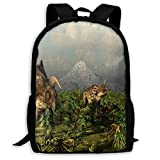 TTmom Zaini/Zaino Casual,Borse a Zainetto, Backpack Einiosaueus Animal Plams Dinosaur Zipper School Bookbag Daypack Travel Rucksack Gym Bag For Man Women