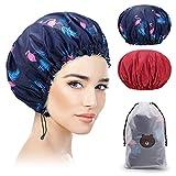 Bonnet de Douche 2 Pièces, Imperméable Bonnet de Bain élastiques Chapeau...