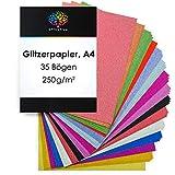 OfficeTree Papier Pailleté A4 - Papier Paillette 15 Couleurs - 35 Feuilles de...