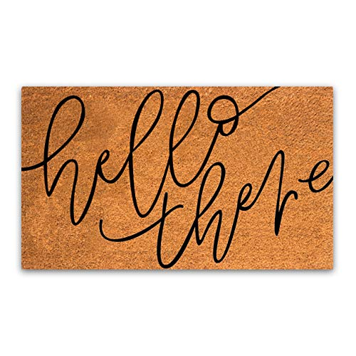 """Coco Coir Door Mat with Heavy Duty Backing, Hello There Doormat, 17""""x30"""" Size, Easy to Clean Entry Mat, Beautiful Color and Sizing for Outdoor and Indoor uses, Home Decor"""