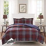 Madison Park Essentials Bernard 3M Scotchgard Down Alternative Comforter Mini Set, Full/ Queen, Red
