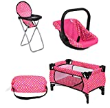 Fash N Kolor3 Piece Set Baby Doll Accessories, Includes 1 Pack N Play. 2.Doll High Chair. 3.Infant Seat, Fits Up to 18'' Doll (3pc Set)