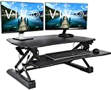 VIVO Black Deluxe Height Adjustable 36 inch Standing Desk Converter | Sit Stand Tabletop Dual Monitor and Laptop Riser Workstation (DESK-V000DB)