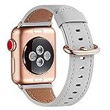 WFEAGL コンパチブル Apple Watch バンド,は本革レザーを使い、iWatch SE,Series 7/6/5/4/3/2/1、Sport、Edition向けのバンド交換ストラップです コンパチブル アップルウォッチ バンド(38/40/41mm, ライトグレー バンド+ゴールドバックル)