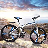 Folding Mountain Bike,26in 21 Speed Carbon Steel Mountain Bicycle for Adults,Full Suspension Disc Brake Outdoor Bikes for Men Women
