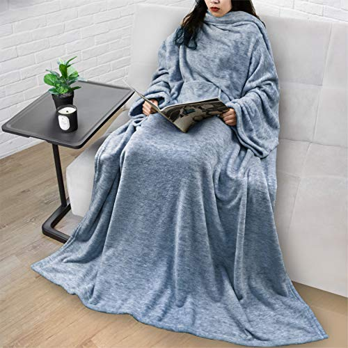 PAVILIA Premium Fleece Blanket with Sleeves for Adult, Women, Men | Warm, Cozy, Extra Soft, Microplush, Functional, Lightweight Wearable Throw (Melange Blue, Regular Pocket)