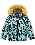 Wantdo Boy's Waterproof Snowboard Jacket Winter Coat Rainwear Blue Camo 14/16