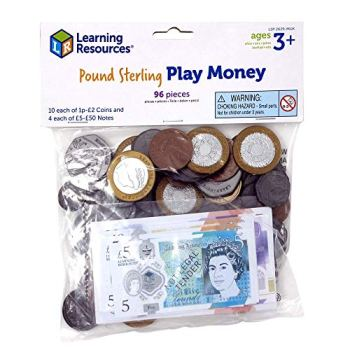 Learning Resources (UK Direct Account) LSP2629MUK Pound Sterling Play Money for Kids UK Toy Pack, Multicoloured