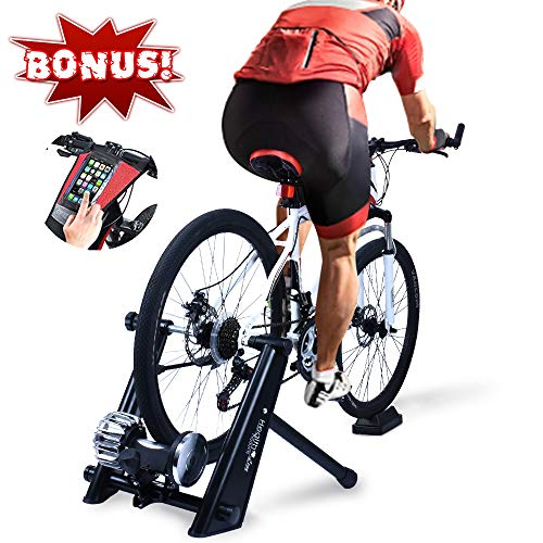 Fluid Bike Trainer Stand, HEALTH LINE PRODUCT Indoor Fluid Bicycle Exercise Trainer w Quiet Real Road Feel Flywheel, Supports 370lbs Portable Cycling Stand