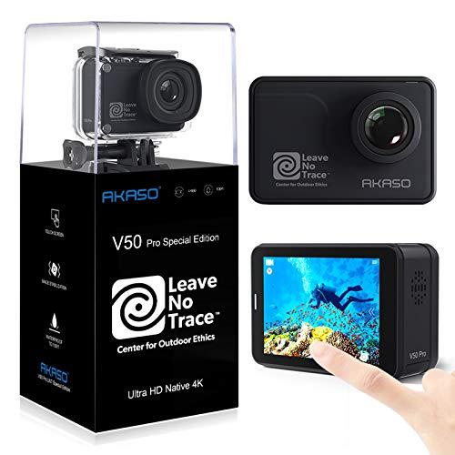 AKASO Action Cam WiFi Native 4K/60fps 20MP Touch Screen Telecomando EIS 39m Impermeabile 3 Batterie 170 Angolo Regolabile Kit di Accessori(V50 PRO SE)
