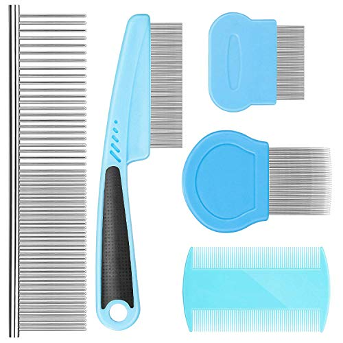 Flea Comb For Dogs Cat Comb Lice Comb Metal Tear Stain Dog Combs Pet Comb Grooming Set 5 Pieces By BENSEAO Teeth Durable Remove Float Hair Combing tangled hair Dandruff Add Storage Pouch (Blue)