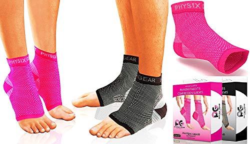 Plantarfasziitis-Socken mit Fußgewölbeunterstützung, 24h-Fußkompressionsbandage, Knöchelstütze, lindern Schwellungen, Fersensporn, fördern Durchblutung, besser als Nachtschienen, Pink, Größe S/M