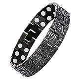 Saifei Magnetic Bracelets For Men Therapy Bracelets For Arthritis Pain Relief Double Row 3500 Guass Magnets Titanium Steel Black Bracelet 8.7'' Link, Adjustable