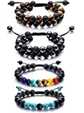 Adjustable Lava Rock Stone Essential Oil Diffuser Bracelet Braided Rope Stone Yoga Beads Bracelets for Men Women (Style F)