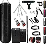 RDX 13PC Punching Bag 5ft 4ft Heavy Filled Set, Non Tear Maya Hide Leather Adult Bag with Ceiling...
