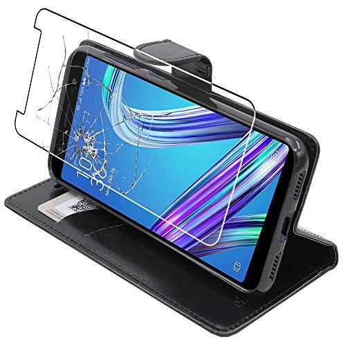 ebestStar - Cover Compatibile con ASUS Zenfone Max M1 ZB555KL Custodia Portafoglio Pelle PU Protezione Libro Flip, Nero + Pellicola Vetro Temperato [Apparecchio: 147.3 x 70.9 x 8.7mm, 5.5'']