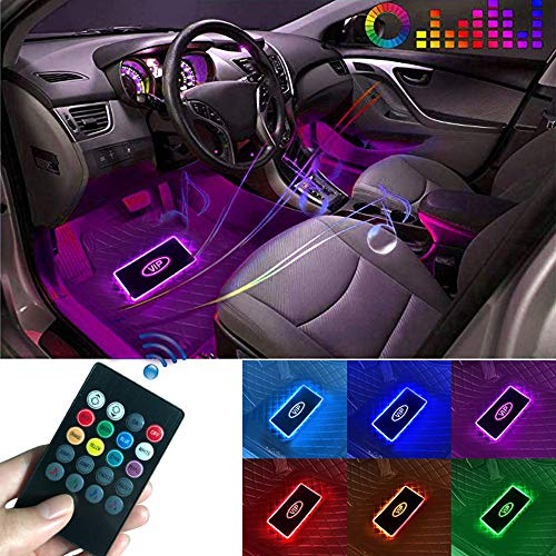 MENGXI Led Car Floor Mats 4 Pieces Wireless Music Intelligent Car Floor Mats Remote Control Changing Color Led Car Floor Mats Car Interior Atmosphere Lamp Decoration Light for All Cars