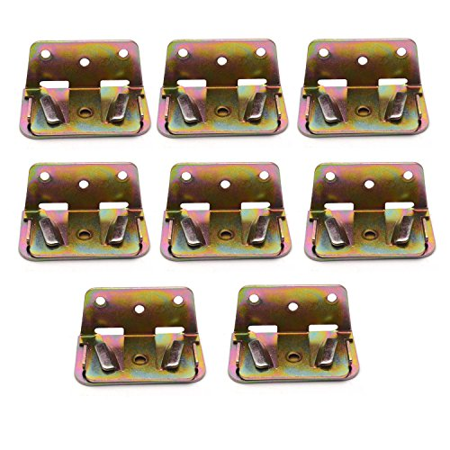 Antrader Heavy Duty Wood Bed Rail Bracket Bed Slat Connector Wood Bed Support Metal Fastener -Set of 8